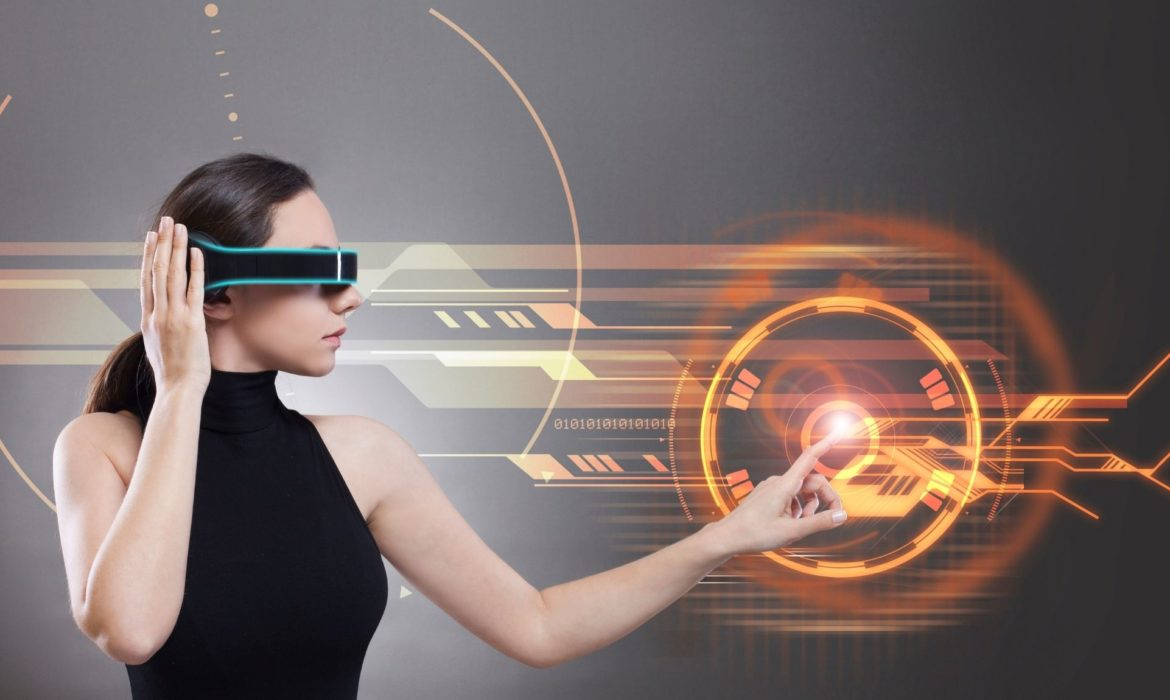 a girl with VR glasses