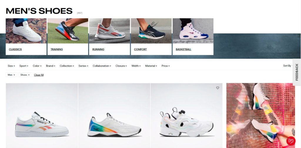Reebok homepage